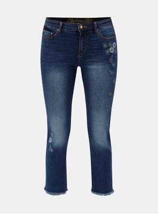 Modré zkrácené skinny džíny s nášivkami Desigual Margaritas