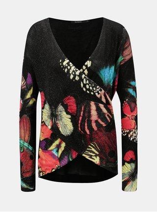 Čierny vzorovaný sveter s prekladaným výstrihom Desigual Pappilon
