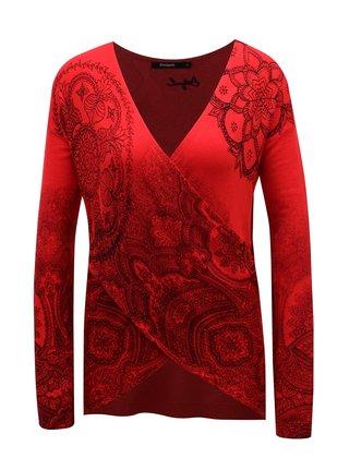 Červený vzorovaný svetr s překládaným výstřihem Desigual Lisboa