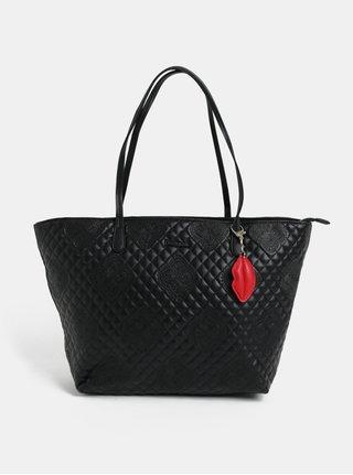 Čierny koženkový prešívaný shopper s príveskom Desigual Claudia