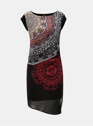 Rochie gri-negru cu model si slit Desigual
