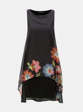 Černé šaty s prodlouženou zadní částí Desigual
