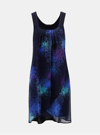 Tmavě modré šaty s překládanou přední částí Desigual