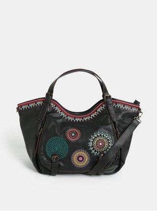 Tmavě hnědá koženková prošívaná kabelka s ornamenty Desigual Siara