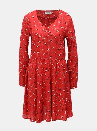 Červené  květované šaty s dlouhým rukávem Blendshe Trudie