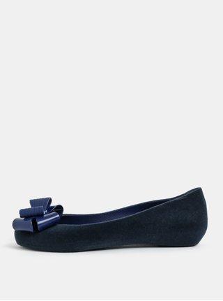 Balerini albastru inchis cu aspect de piele intoarsa si fundita Zaxy Pop Flocket
