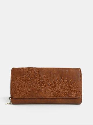 Hnedá koženková prešívaná peňaženka Desigual Amber