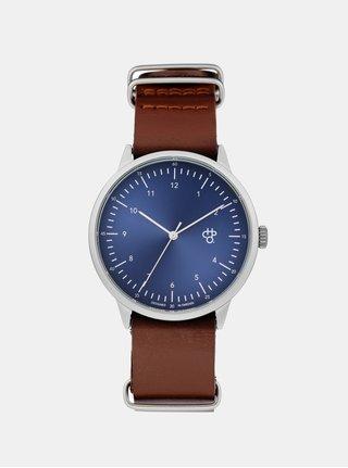 Unisex hodinky s hnědým koženým páskem CHPO Harold Navy Metal