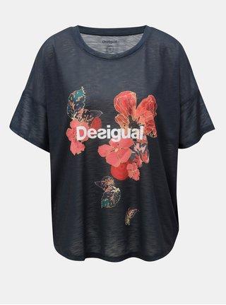 Tmavě modré vzorované tričko Desigual