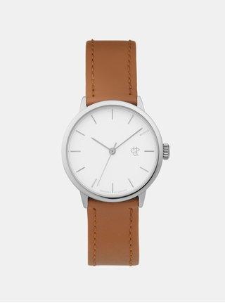 Dámske hodinky s hnedým remienkom z vegánskej kože CHPO Khorshid Mini Silver