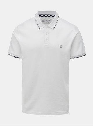 Biele polo tričko s kockovanými detailmi Original Penguin Check Tipped