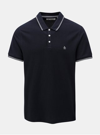 Tmavomodré polo tričko s kockovanými detailmi Original Penguin Check Tipped