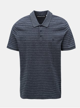 Tricou polo albastru inchis melanj in dungi Original Penguin Allover Jacquard