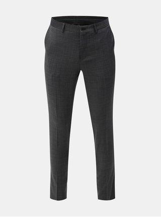 Pantaloni formali gri melanj cu amestec de lana Jack & Jones Laris