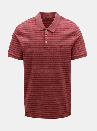 Tricou polo rosu melanj in dungi Original Penguin Allover Jacquard