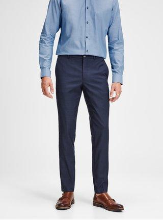Tmavomodré oblekové nohavice s prímesou vlny Jack & Jones Laris
