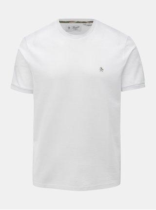 Biele basic tričko s drobnou výšivkou Original Penguin Camo logo