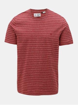 Červené melírované tričko s pruhmi Original Penguin Allover Jacquard