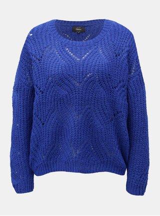 Modrý oversize sveter s dlhým rukávom ONLY Havana