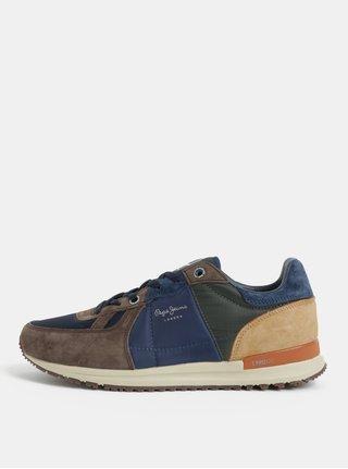 5b825323af8b Hnedo-modré pánske semišové tenisky Pepe Jeans Tinker