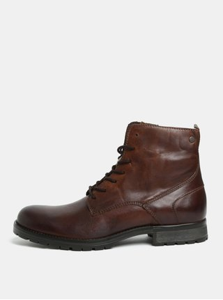 Tmavohnedé pánske kožené členkové topánky Jack & Jones Worca
