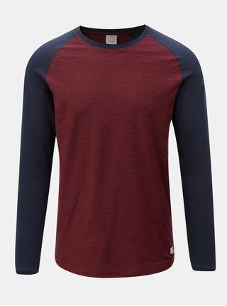 Modro-vínové pánske jemne melírované tričko s dlhým rukávom Jack & Jones