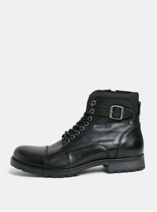Čierne pánske kožené členkové topánky s prackou Jack & Jones Bany