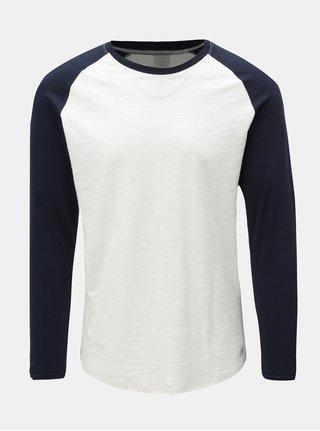 Modro-biele pánske jemne melírované tričko s dlhým rukávom Jack & Jones