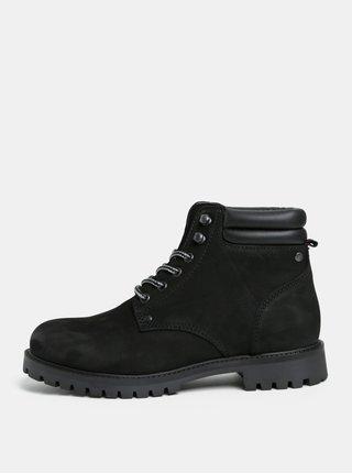 Černé pánské kožené kotníkové boty Jack & Jones Stoke
