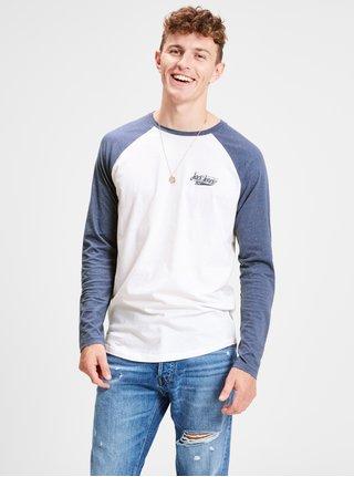 Tricou barbatesc albastru-alb usor melanj cu print Jack & Jones