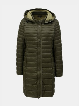 Khaki prošívaný kabát s kapucí Yest