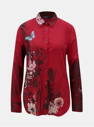 Camasa rosie cu print si maneci lungi Desigual Fragancy