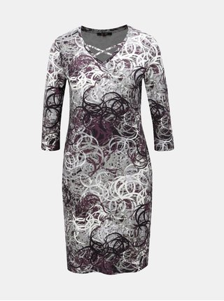 Fialovo–sivé vzorované šaty s pásikmi v dekolte Yest 5ef67eae204