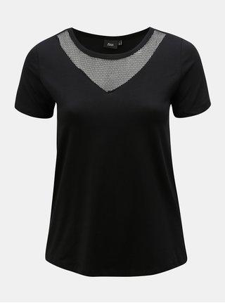 Čierne tričko so sieťkou v dekolte Zizzi Cano