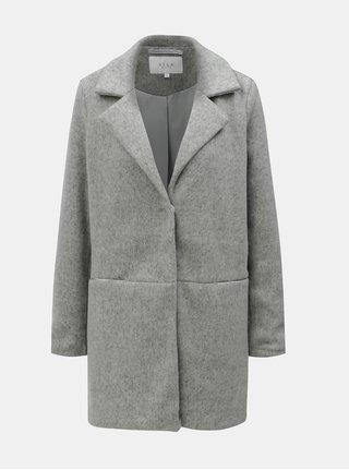 Šedý žíhaný lehký kabát s kapsami VILA Dory