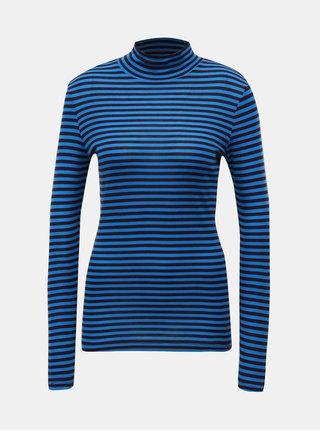 Černo-modré pruhované basic tričko se stojáčkem VERO MODA Vita