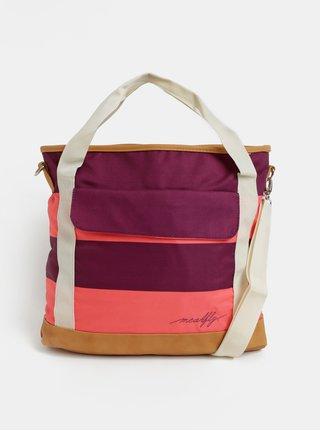 Růžovo-fialová pruhovaná kabelka s kapsou na notebook Meatfly Kuna