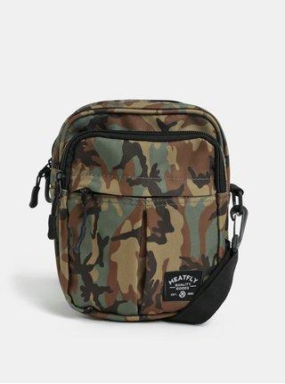 Khaki vzorovaná crossbody taška s nášivkou Meatfly Hardy
