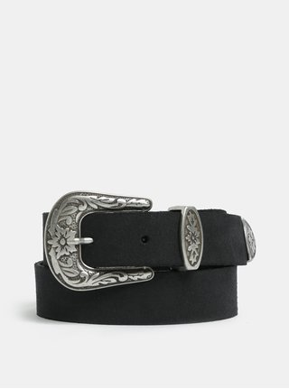Čierny kožený opasok s ozdobnou sponou VERO MODA Pernille