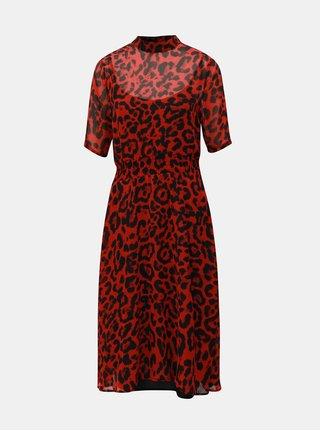 Rochie negru-rosu cu model si guler inalt Noisy May Jean