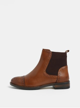 Ghete chelsea brogue maro din piele Dune London
