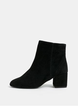 Čierne semišové členkové topánky na podpätku Dune London
