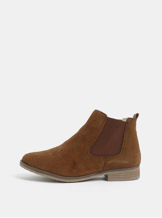 Hnedé semišové chelsea topánky s umelou kožušinou Dune London