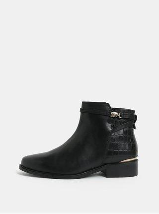 Čierne kožené členkové topánky Dune London