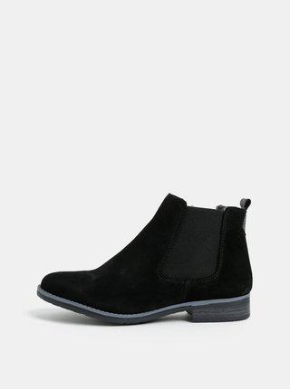 Čierne semišové chelsea topánky s umelým kožúškom Dune London