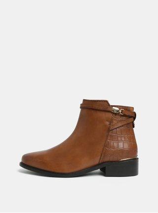 Hnedé kožené členkové topánky Dune London