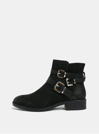 Černé kožené kotníkové boty s přezkami Dune London