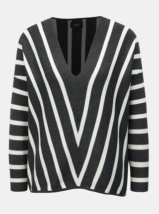 Sivý pruhovaný sveter ONLY Aya