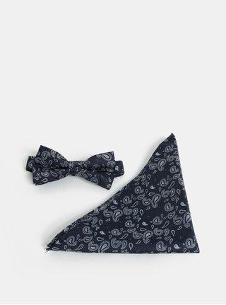 Tmavě modrý vzorovaný motýlek s kapesníčkem Selected Homme Valdemar