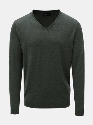 Pulover lejer verde din lana cu decolteu in V Selected Homme